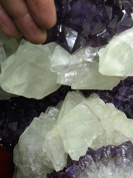museum quality calcite on amethyst